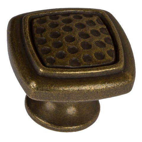 GlideRite 1.125-inch Antique Brass Rounded Square Dimpled Cabinet Knobs (Pack of 25) - Antique Brass