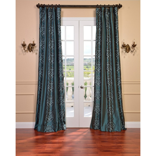 Exclusive Fabrics Tulon Ocean Faux Silk Embroidered 96-Inch Curtain Panel
