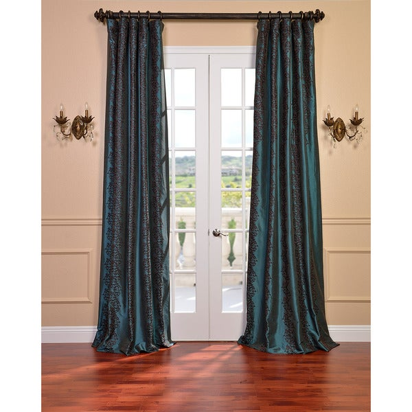Exclusive Fabrics Barroche Ocean Faux Silk Embroidered 120-Inch Curtain Panel