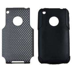 Black Hybrid Case/ LCD Protector/ Headset/ Wrap for Apple iPhone 3GS - Thumbnail 1