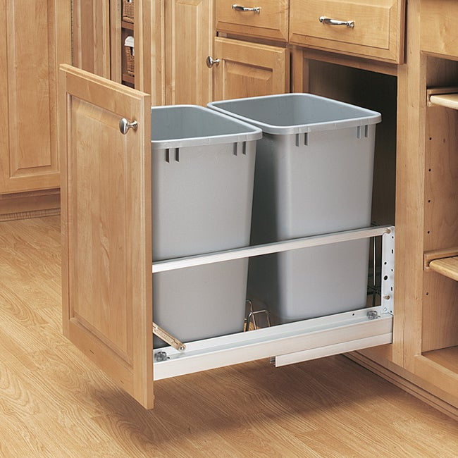 Rev-A-Shelf 5349-18DM-217 Double Silver 35-quart Waste Container