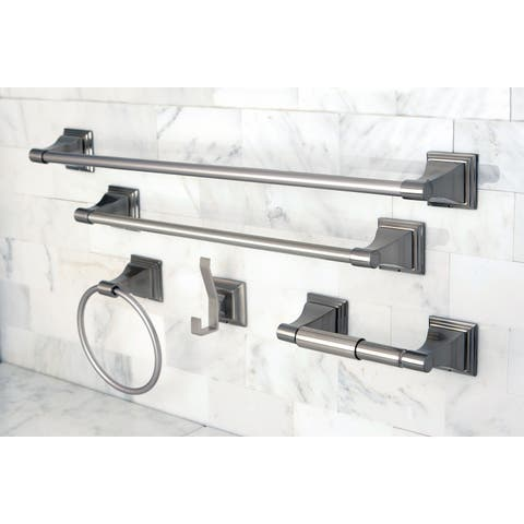Brushed Nickel 5-piece Bathroom Accessory Set - Grey