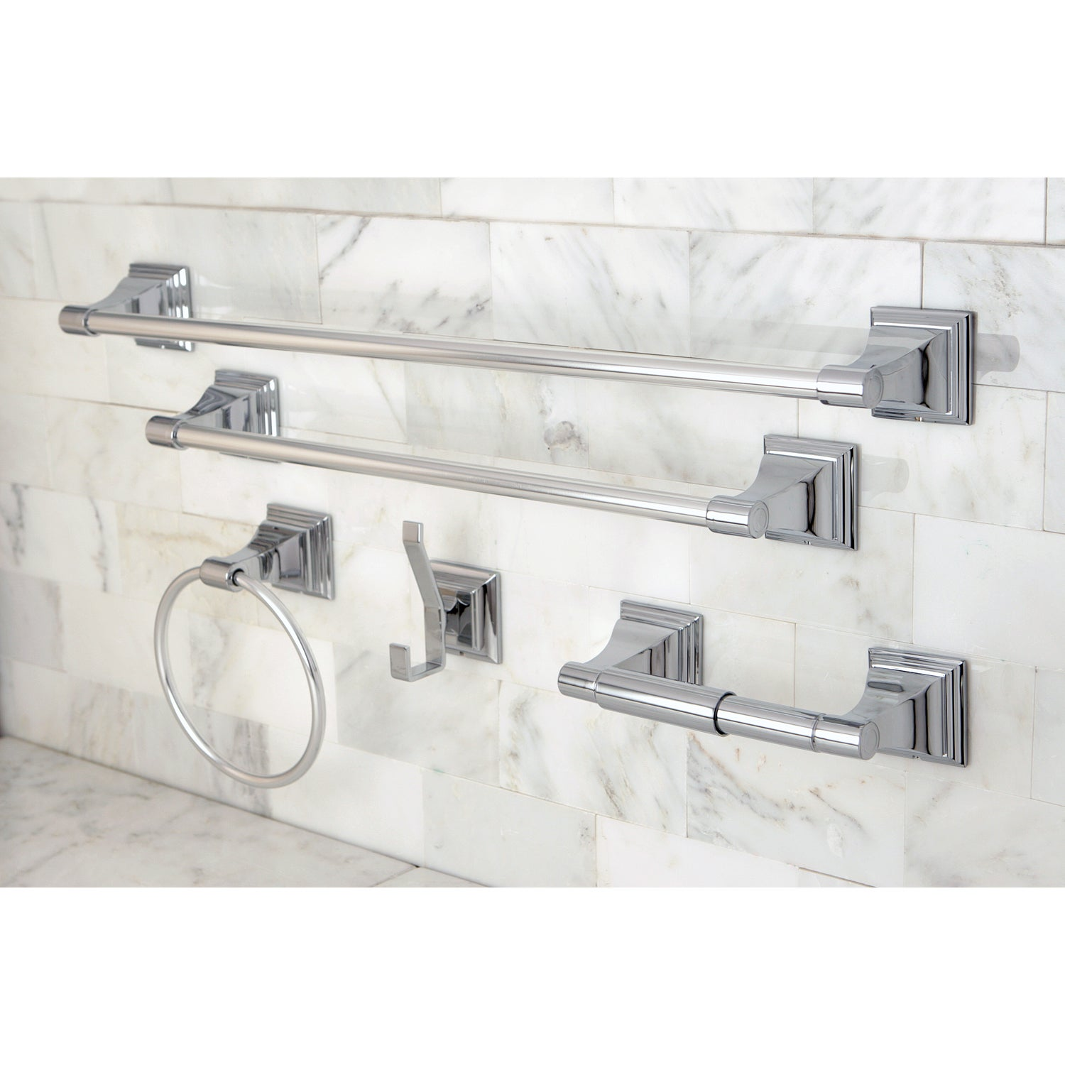 Chrome 5 piece bathroom accessory set free shipping for Cream bathroom accessories set
