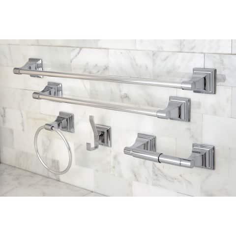 Chrome 5-piece Bathroom Accessory Set - Silver