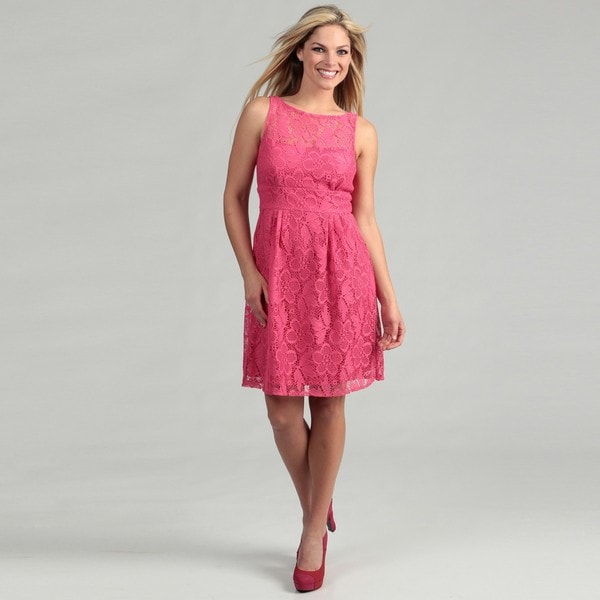 Sandra Darren Women's Hot Pink Laced Dress