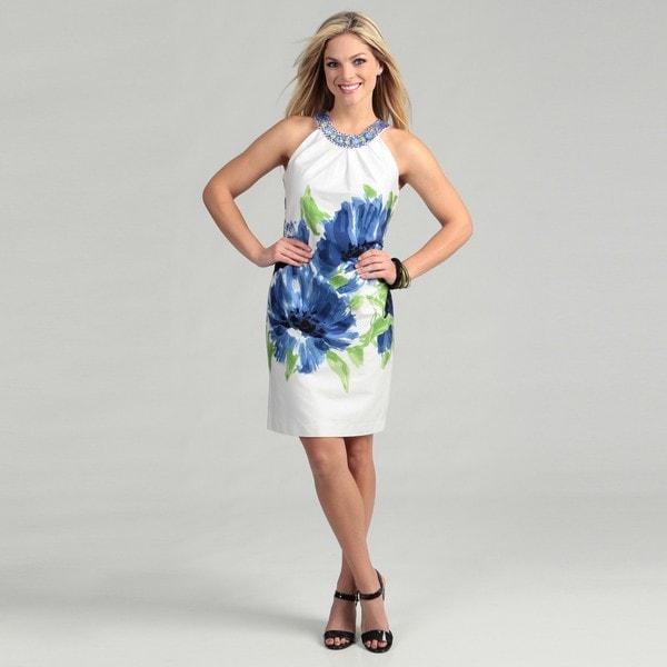Sandra Darren Women's Cotton Sateen Floral Dress