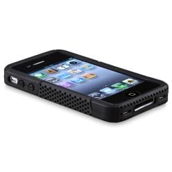 INSTEN Black Skin/ Black Mesh Hybrid Phone Case Cover for Apple iPhone 4/ 4S