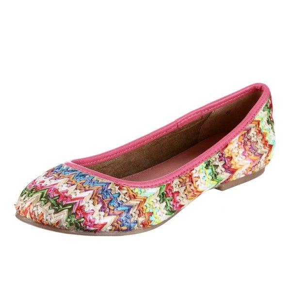 BC Footwear Women's 'Limousine' Multi Raffia Flats