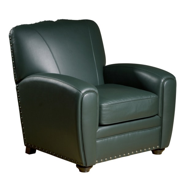 Cardiff Green Leather Press Back Club Chair