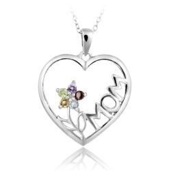 Glitzy Rocks Silver Multi-gemstone and Diamond Mom Heart Necklace