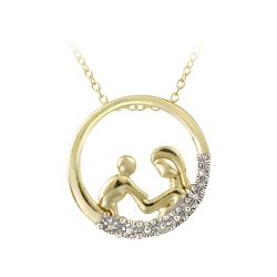 DB Designs 18k Gold over Sterling Silver Diamond Accent Necklace of mother and child