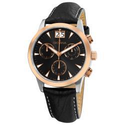 Grovana Men's Black Leather Strap Chronograph Quartz Watch