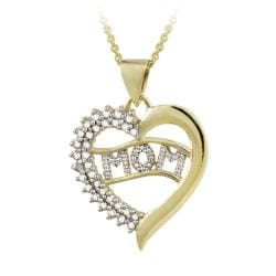 DB Designs 18k Gold over Sterling Silver Diamond Accent Heart 'Mom' Necklace - Thumbnail 0
