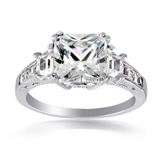 Icz Stonez Sterling Silver 5.5ct TCW Cubic Zirconia Engagement Ring