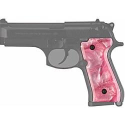 Hogue Pink Pearl Beretta 92 Polymer Grip Panels - Thumbnail 0