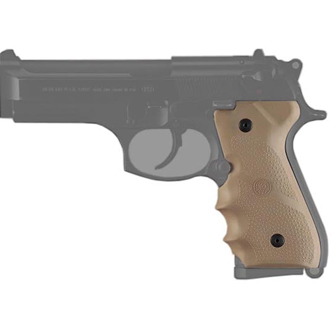 Hogue Desert Tan Beretta 92/96 with Finger Grooves Rubber Mono Grip
