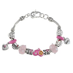 La Preciosa Silverplated 7.5-inch Heart-themed Pink Bead Charm Bracelet