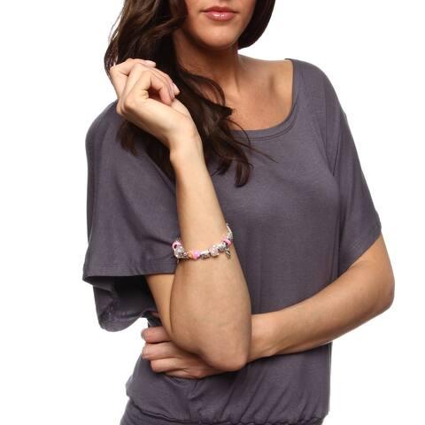 La Preciosa Silverplated 7.5-inch Heart-themed Pink Bead Charm Bracelet