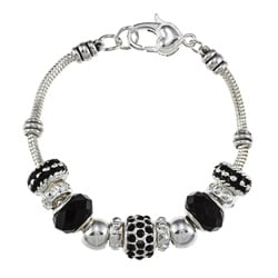 La Preciosa Silverplated 7.5-inch Black Bead Charm Bracelet
