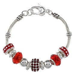 La Preciosa Silverplated 7.5-inch Red Bead Charm  Bracelet