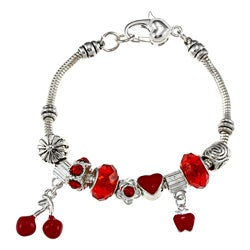 La Preciosa Silverplated 7.5-inch Red Bead Charm Bracelet