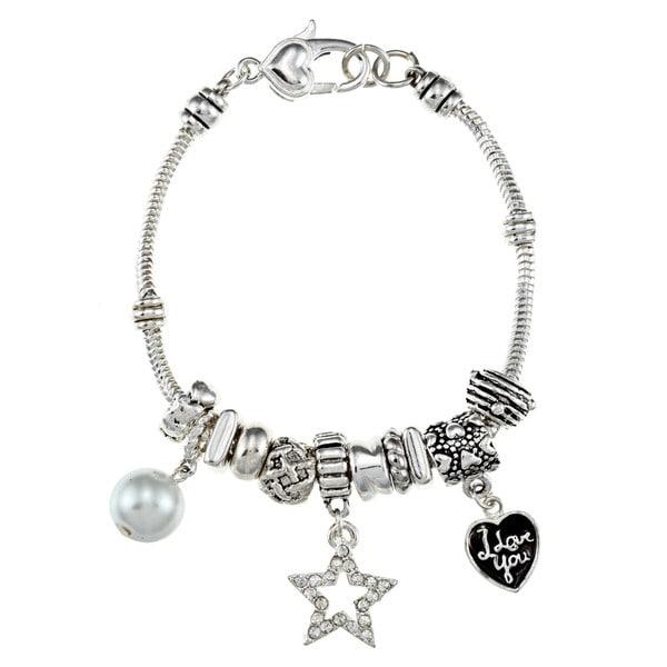 La Preciosa Silverplated 7.5-inch Shell Pearl Charm Bracelet