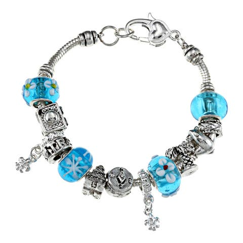 La Preciosa Silverplated 7.5-inch Blue Bead Charm Bracelet