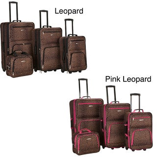 Rockland Deluxe Leopard Four-piece Expandable Luggage Set