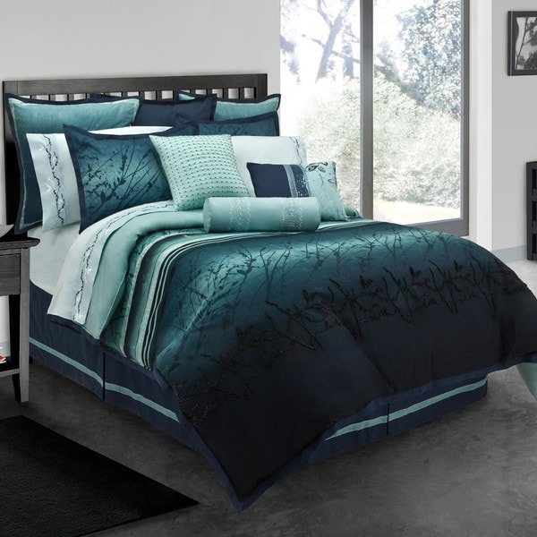 blue moon queen size 10 piece bed in a bag with sheet set free shipping today. Black Bedroom Furniture Sets. Home Design Ideas