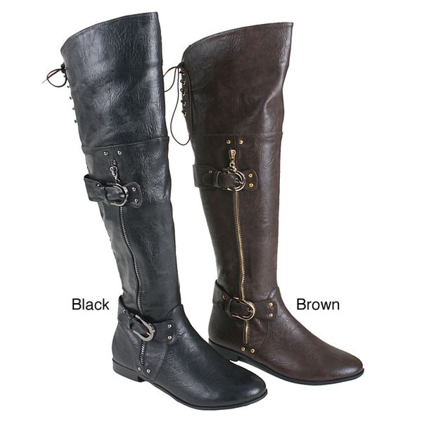 Beston Italina Women's Faux Leather Over-the-knee Motorcycle Boots