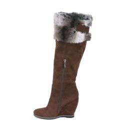 Nancy li Women's Faux Fur Brown Knee-High Boots