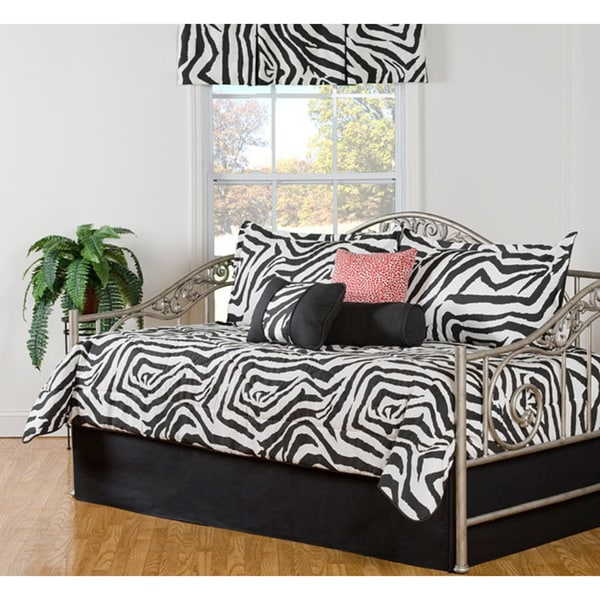 Shop Black And White Zebra Print 7 Piece Cotton Daybed Set