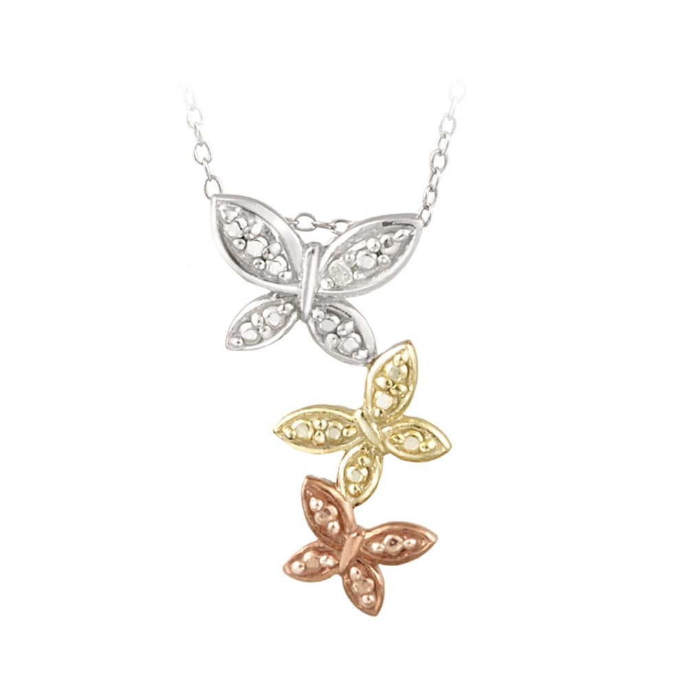 DB Designs Tri-color Sterling Silver Diamond Accent Butterfly Necklace