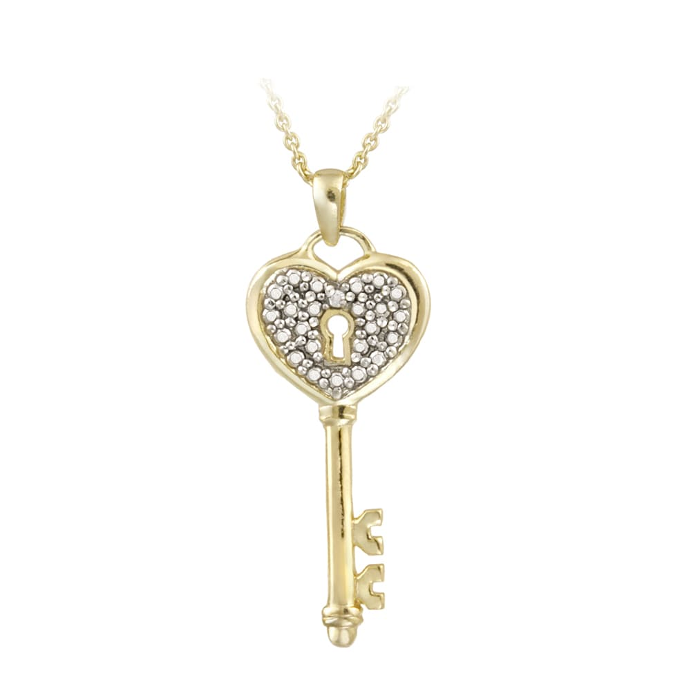 DB Designs 18k Gold over Sterling Silver Diamond Accent Key Heart Necklace