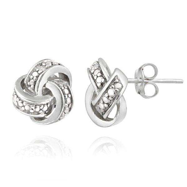 cz jewelry pfs bling sterling silver love stud par knot earrings pave