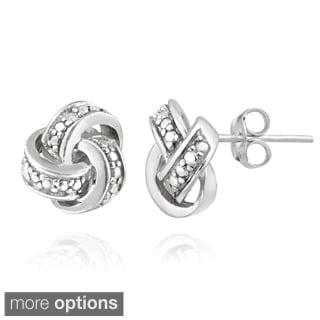 DB Designs Diamond Accent Love Knot Earrings