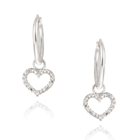 DB Designs Sterling Silver Diamond Accent Heart Dangle Earrings