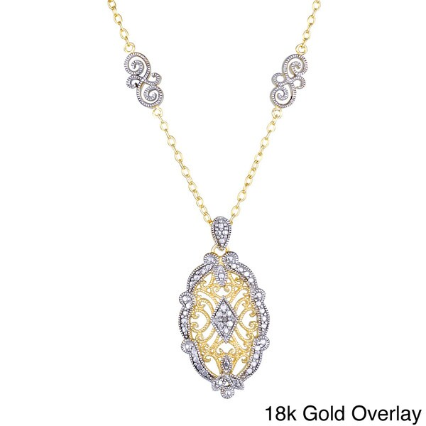 DB Designs Sterling Silver Diamond Accent Oval Vintage Design Necklace