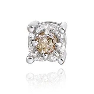 DB Designs Sterling Silver Champagne Diamond Single Stud Earring
