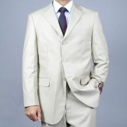 Men's Solid Bone 3-Button Suit