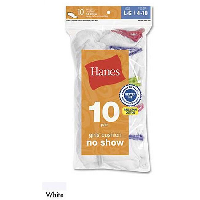 Hanes Girls' Cushion No Show Socks (Pack of 10)