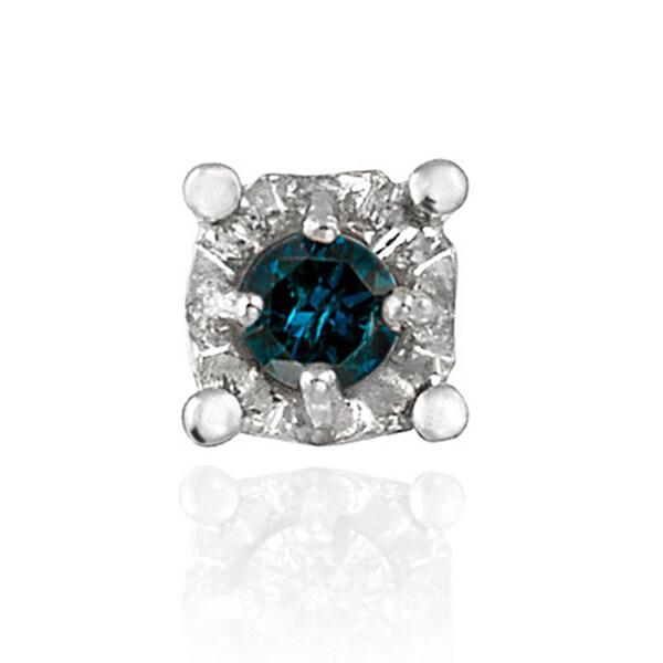 DB Designs Sterling Silver Blue Diamond Single Stud Earring