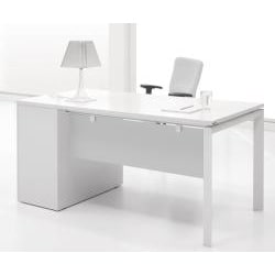 Jesper Office White Lacquer Study Desk With Drawers Free