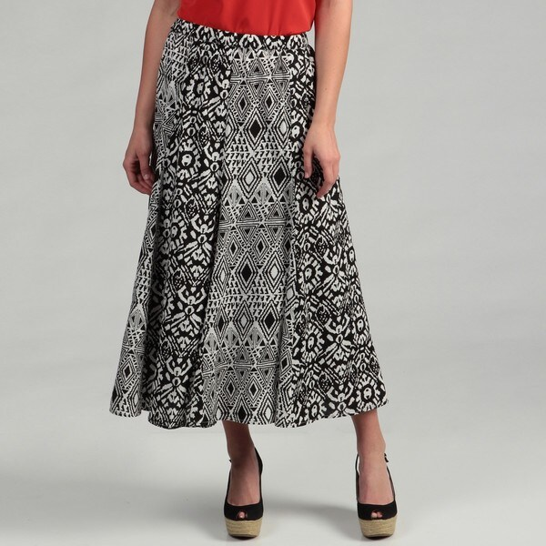 R.Q.T Women's Pull-on Mixed Print Skirt