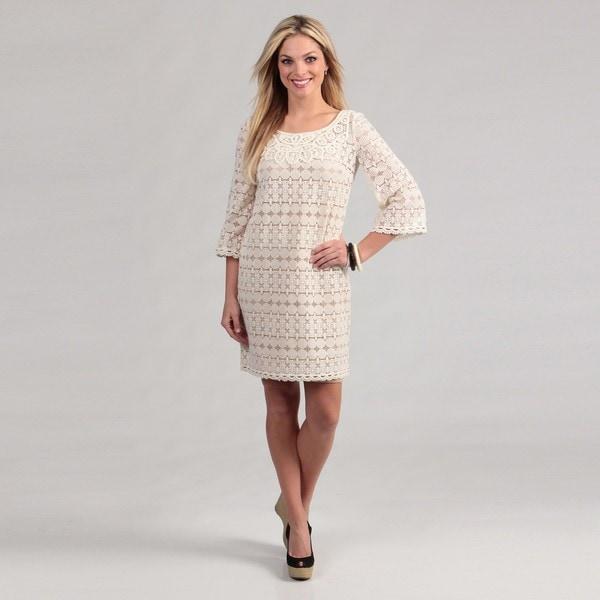 Muse Women&-39-s Ivory Crocheted Overlay Dress FINAL SALE - Free ...