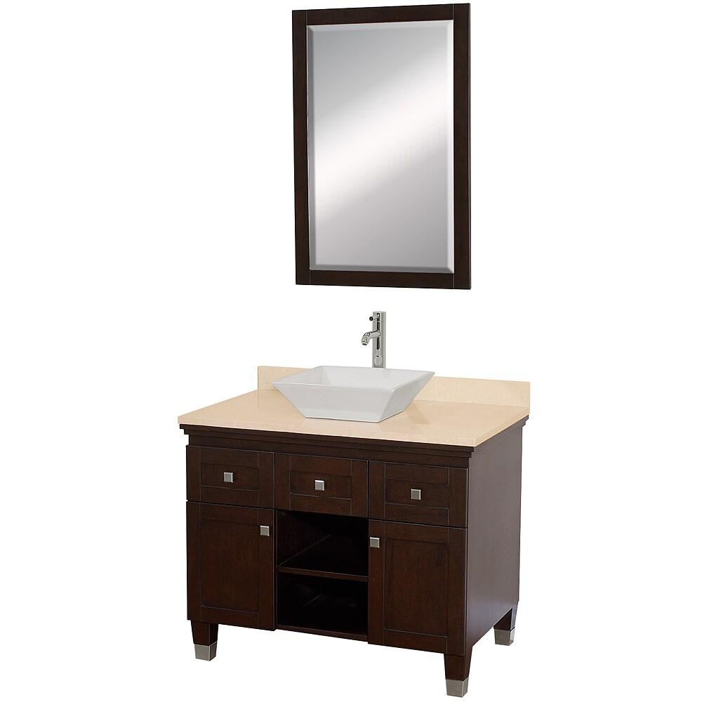Wyndham Collection Premiere Espresso 36-inch Solid Oak Single Bathroom Vanity Set