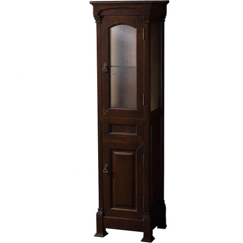 Wyndham Collection Andover Bathroom Linen Tower Dark Cherry Solid Oak