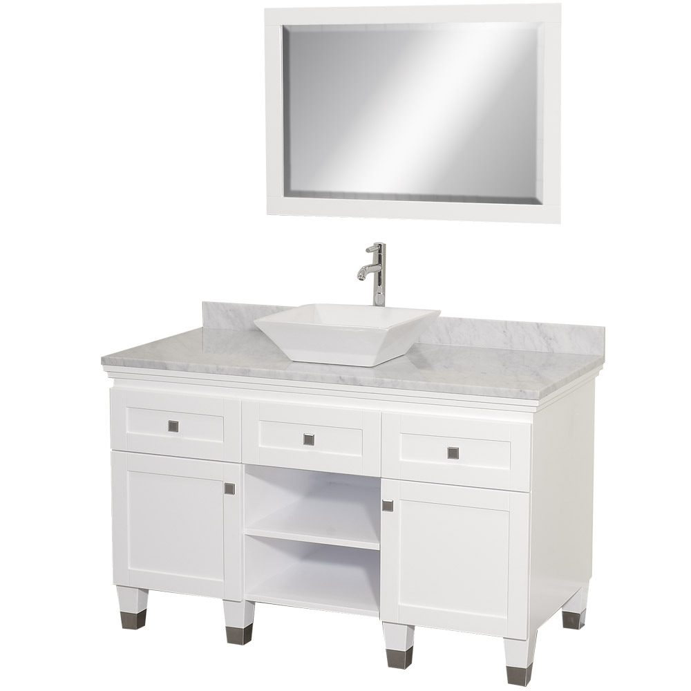 Shop wyndham collection premiere 39 white 48 inch solid oak - 48 inch white bathroom vanity with top ...