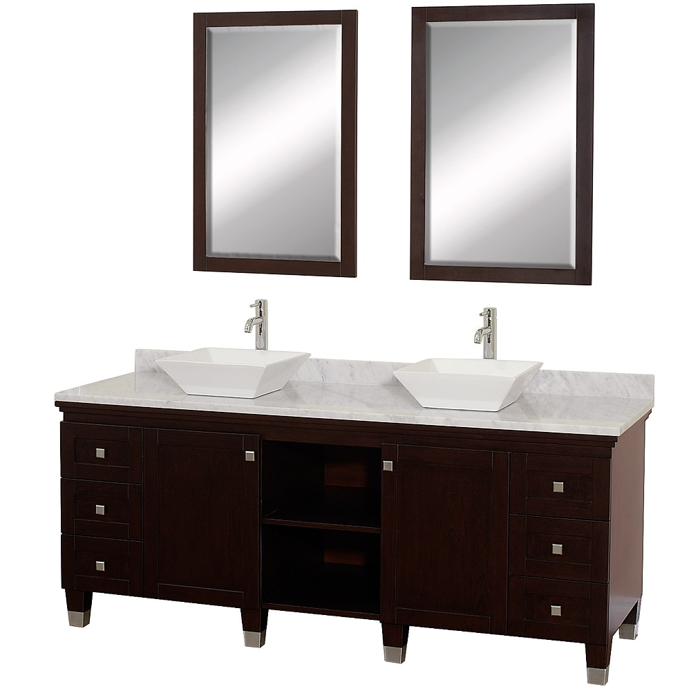 Wyndham Collection Premiere 39 Espresso 72 Inch Solid Oak Double Bathroom Vanity Free Shipping