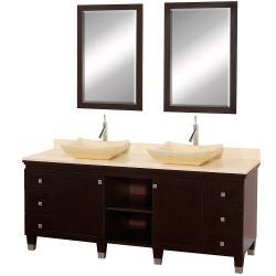 Wyndham Collection Premiere' Espresso 72-inch Solid Oak Double Bathroom Vanity